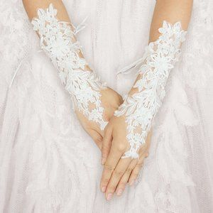Accessories - Pearl Floral Lace Fingerless Wedding Gloves
